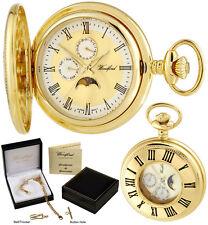 Woodford metà CACCIATORE Orologio da tasca Moondial datario quarzo placcato oro