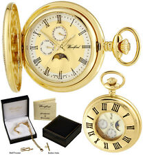Woodford Half Hunter Pocket Watch Moondial DayDate Quartz GP Free Engraving 1247