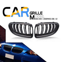 2× Front Kidney Grilles Grill For BMW 3Series E90 E91 Facelift 09-11 Gloss Black