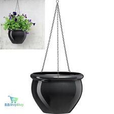 Hanging Basket Flower Plants Pot Outdoor Indoor Garden Planter Grey Rustproof