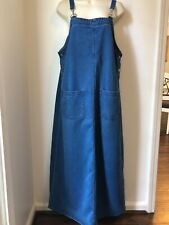 Womens Directives Denim Jean Jumper DressFront Pockets Long Modest No Slit