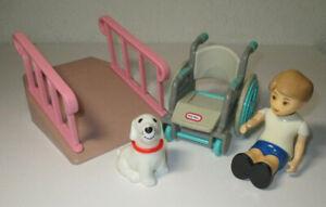 Vintage LITTLE TIKES Dollhouse Size WHEELCHAIR RAMP BOY & DOG