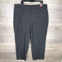 212 Collection Women's 22W Short Curvy Straight Leg Pants Gray Herringbone NEW