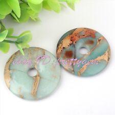 40mm Ring Donut Round Smooth Natural Shoushan Stone Gemstone Pendant Beads 1 Pcs