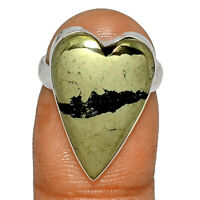 Heart - Pyrite In Magnetite - Healer's Gold 925 Silver Ring Jewelry s.6 BR39880