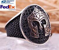 Knight Onyx Stone 925 Sterling Silver Turkish Handmade Jewelry Black Men Ring US