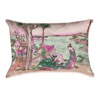 ArtVerse Katsushika Hokusai 20 x 20 Outdoor Pillows /& Cushions UV Properties Waterproof and Mildew Proof Japanese Bridge in Green and Peach Pillow