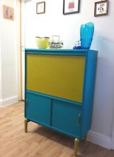 Vintage retro cocktail cabinet with Bansky stencil & Stool in vibrant colours