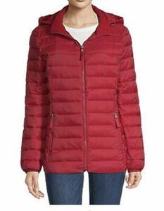 St. John's Bay  Packable Puffer Jacket  Womens 1X  Hood  Lightweight  Red  NWT