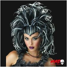Sexy Evil Sorceress Black & White Witch Wig for Vampire Halloween Ladies Costume