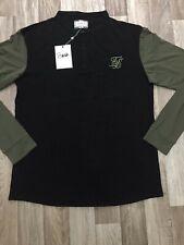 Men Sik Silk Long Sleeve Grandad Collared T-Shirt King Black Casual Gym Size 3XL
