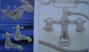 Park lane  Style Antique Gold Bath Shower Mixer & Pair basin pillar taps