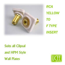 RCA - F Type Yellow Audio Wall Plate Insert Fits CLIPSAL AND COMPATIBLE PLATES