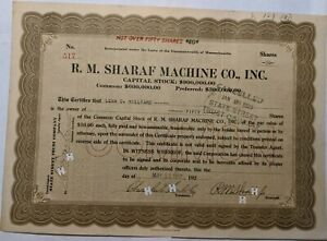 R. M. Sharad Machine Co. Inc. 50 shares Stock Certificate 1922