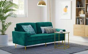 VASAGLE 3-Sitzer Sofa Couch für Wohnzimmer Bezug aus Samt Metallbeine modern