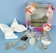 Silver Coloured Costume Jewellery Bundle 6 Butterfly Themed Items In Floral Tin