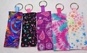 Handmade colorful  Lip Balm Holders Chapstick holder keyring