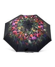 Elliott Lucca Black Autumn Botanica Sun Rain Wind Umbrella Floral by The Sak