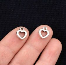 50pcs Antique Silver Hollow Heart Charms Pendants for Jewelry Making 12x10mm