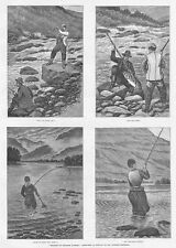 NORWAY Angling in Norwegian Waters - Antique Print 1888