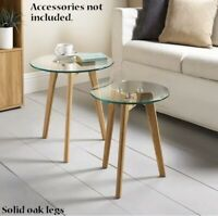 New Stylish Solid Oak Legs Aiden Table Set 2pc Clear Glass Top Coffee Living