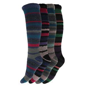 Ladies Heat Machine 2.3 Tog Brushed Winter LONG Striped Thermal Socks 4-8 UK