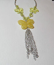 "24"" LONG YELLOW ACRYLIC CRYSTAL butterfly NECKLACE SILVER PLATED TASSEL fun"