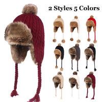 Women Knitted Fleece Winter Warm Hat Earflap Earmuff Trapper Aviator Beanie Cap