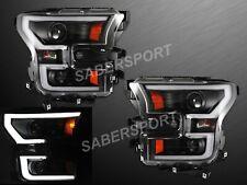 Anzo 111347 Black Headlights w/ Plank Style LED Bar for 2015-2017 F-150 XL XLT