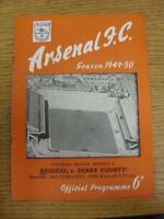 18/02/1950 Arsenal v Derby County  (neat team changes and writing on front). Thi
