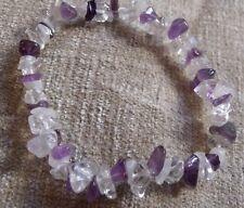 Amethyst, Clear Quartz & Moonstone puce Bead Healing Crystal Bracelet