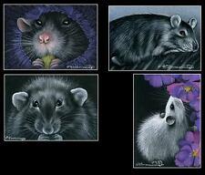4 Rat ACEO Prints Cute Rats by I Garmashova