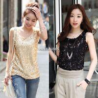 women tops camisole Sequin Sparkle Glitter tank top Vest T-Shirt blouses N4U8