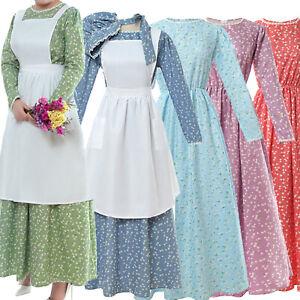 Pioneer Costume Dress Women American Historical Clothing Prairie Colonial Dress
