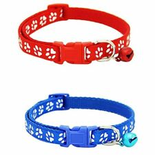 1X(2 Pack Adjustable Cat Collar with Bell, Fashion Paw Print Design Pet Coll U01
