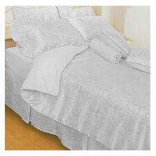 4 Pce CRISP WHITE Queen Jacquard Quilt Doona Cover + 2 Std Pillowcase + Valance