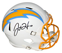 JUSTIN HERBERT AUTOGRAPHED LOS ANGELES CHARGERS FULL SIZE SPEED HELMET BECKETT