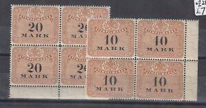 Germany 10/20 mark Stempelmarke Blocks Of 4 Mint J9075