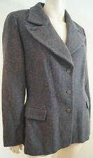 SPORTMAX Charcoal Blue Grey 100% Virgin Wool Formal Winter Blazer Jacket UK16