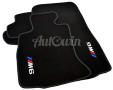 BMW 6 Series F12 M6 Black Floor Mats Grey Rounds With M6 Emblem & Clips LHD NEW