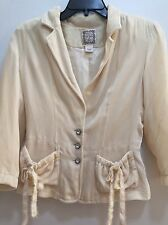 RALPH LAUREN POLO JEANS SOFT IVORY VELVET JACKET SIZE S IVORY CRYSTAL BUTTONS