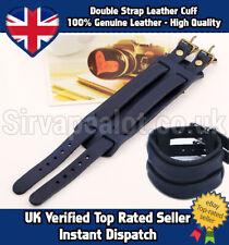 Genuine Leather Wide Double Strap Cuff Bracelet Goth Punk Rocker Surf