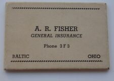 Vintage Advertising Pocket Mirror Fisher General Insurance Baltic Ohio OH