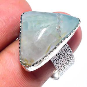 Aquamarine Gemstone 925 Sterling Silver Handmade Jewelry Ring Size 8 E368