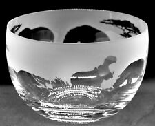 More details for hippo frieze 12cm boxed crystal glass bowl