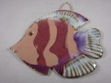 Signed Martz 2003 Hand Painted Pottery Multi Colored Fish Wall Hanger