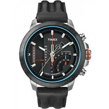 Timex Intelligent Quartz Men Black Leather Steel Linear Chronograph Watch T2P274
