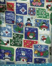 "CHRISTMAS Cotton Fabric Snowman Holiday Theme on White 46"" wide x 1 yd 25"""