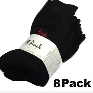 8 Pack of Pringle Black Cotton Mens Trouser Socks 8 Pairs Size UK 7-11 EUR 40-46