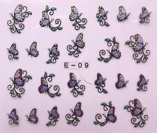Nail Art Glitter 3D Decal Stickers Pink & Purple Butterflies E09/BLE847D